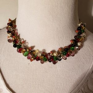 Jewelry - Vintage Multi-Colored Glass Drop Bead Necklace